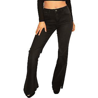 Split Hem Bootcut Jeans Long Leg - Black