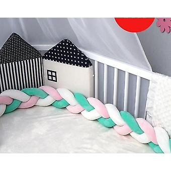 Baby Crib Protector Knot, Bed Bumper Weaving Plush Cushion For Newborns