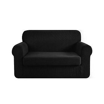 2 قطعة أريكة تغطية مرونة تمتد الأريكة يغطي حامي أسود