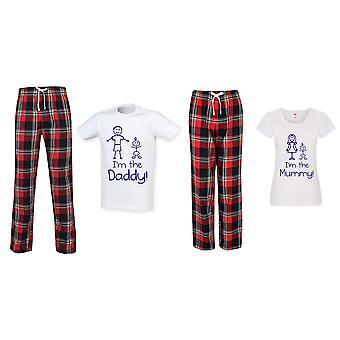 I'm The Mummy / I'm The Daddy Tartan Trouser Pyjama Pariskuntien setti