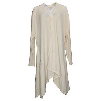 Anybody Women's Sweater Ribbed Open Front Cardigan Ivory