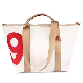 360 degree tug mini canvas bag travel bag small white, number red, strap beige