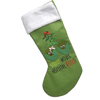 50cm Green Sprout Christmas Stocking with Sequin Detail