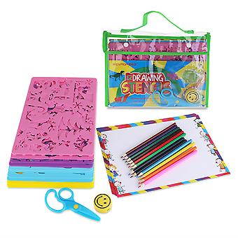12 Drawing Stencils With Assorted Designs Creative Craft Painting Stencils Educational Art Tool Set For Kids Learning