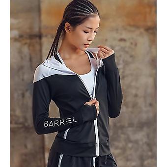 Veste de course de femmes à capuchon avec des tissus de forme physique de trou de pouce-fermeture éclair