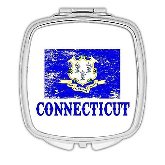 Gift Compact Mirror: Connecticut Flag