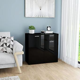 vidaXL Sideboard high gloss black 80x36x75 cm chipboard