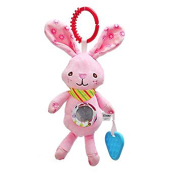 Pink Rabbit Rattling Doll Cute Baby Hanging Toys With Bell Mirror Bb Device Teether For Children Soft Plush Rattle Toys