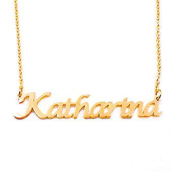 KL كاتارينا مخصص اسم قلادة مطلية بالذهب 18 قيراط سلسلة قابل للتعديل 16 19 سم.