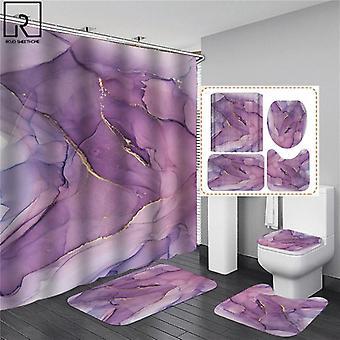 4-delige setCurtains in de badkamer waterdicht badgordijn met haak sets flanel bad (180 * 180cm)