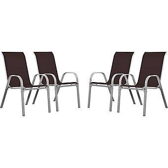 """Juego de 4 sillas jardín Textileno """"Cordoba"""" - Phoenix - Taupe"""
