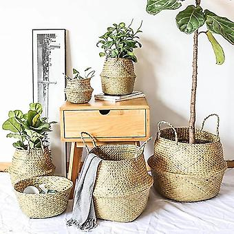 Wicker Storage Basket Flower Baskets Laundry Storage Decorative Basket Rattan Flower Pot Garden