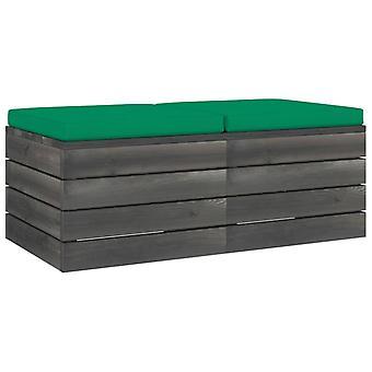 vidaXL garden pallet stool 2 pcs. with cushion pine solid wood