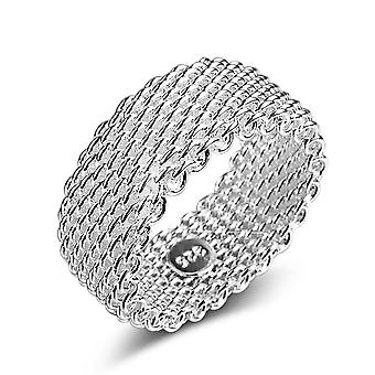 4PCS Silver plating Rings for Women Couples Creative Geometric Weave Party Jewelry Gifts