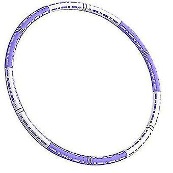 6 Knots Collapsible Hula Hoop, 90cm weighted Fitness Hula for Adult(White Purple)
