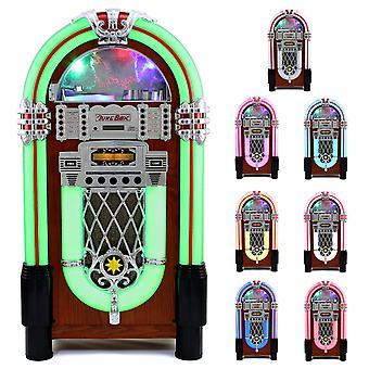 Monstershop Jukebox Retro 50er Jahre Musikbox USB-SD-Slot, AUX, MP3 Player CD-Player Bluetooth Radio Holz-Gehäuse mit LED-Beleuchtung Fernbedienung Maße 105cm x 57cm x 30cm
