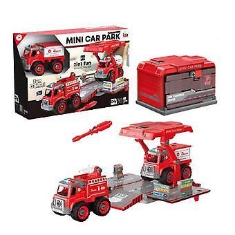 Children's demontage en montage van brandbestrijding container truck speelgoed