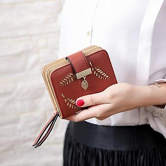 Fashion Women's Wallet Female Short Wallets Hollow Leave Pouch Handbag For Women Coin Pu Leather Purses Card Holder Carteira