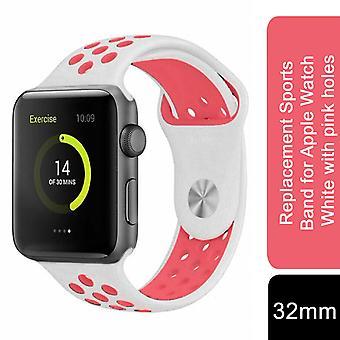 Vervangende sportband voor Apple Watch - 38mm - Wit met roze gaten