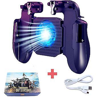 PUBG 4 az 1-ben Gamepad többfunkciós mobilvezérlő ventilátorhűtéssel Androidra és IOS-re (fekete)