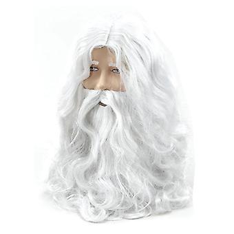 Silk deluxe white santa fancy dress costume wizard wig and beard set 40cm christmas halloween