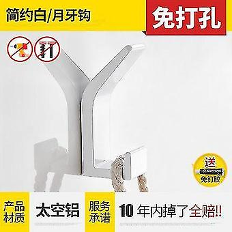 Uusi tila alumiininen keittiö kylpyhuone kylpyhuone koukku takki ja hattu koukku nordic musta ei-lävistys(Valkoinen)