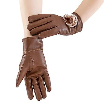 Mimigo Genuine Sheepskin Leather Gloves For Women, Winter Warm Cashmere Lined Driving Motorcycle Gloves With Real Rabbit Pompom