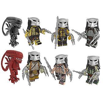 8pc Predator Alien geassembleerde bouwsteen minifiguren educatief kinderspeelgoed