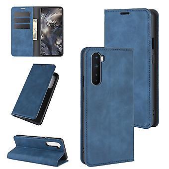 Étui pour Oneplus Nord Premium Cuir Fermeture magnétique Bleu