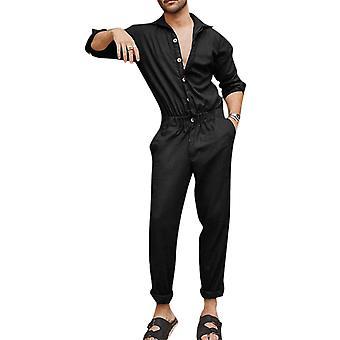 גברים חולצה בחתיכה אחת סרבל שרוול ארוך רומפר מכנסיים סרבל
