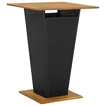 Chunhelife Bar Table Noir 80x80x110 Cm Poly Rotin Et Bois massif d'Acacia