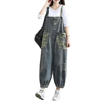 Woman Ripped Demin Pants Loose Printed Overalls Jeans