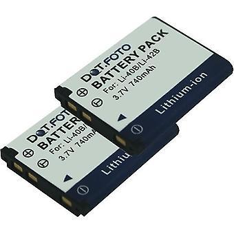 2 x Dot.Foto Olympus LI-40B, LI-42B batteria di ricambio - 3.7 v / 740mAh
