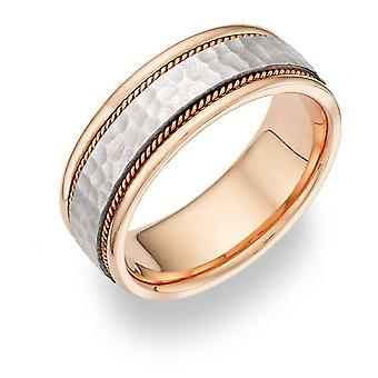 Two-Tone Hammered Wedding Band Ring - 14K Gold