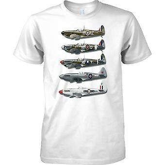 WW2 Spitfire Collage: Schlacht von Großbritannien Jagdflugzeug - Kinder T Shirt