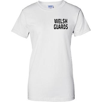 Lisensoitu MOD-British Army Welsh Guards-teksti-naiset rinnassa Design T-paita
