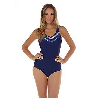 Seaspray 08-2100 vrouwen Crete blauw en oranje vormgeven badpak
