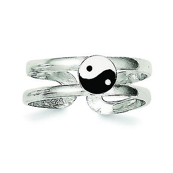 925 Sterling Silver Solid Enameled Ying-Yang Toe Ring