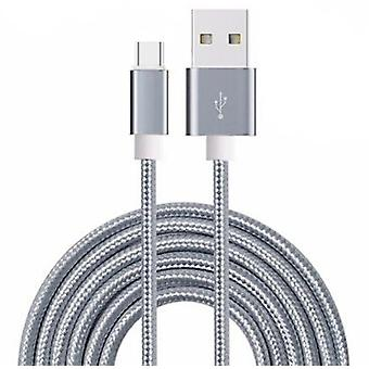 ONX3 (Grey) Premium Quality [ 1 METER ] USB Micro-USB Cable Nylon Braided Fast Charging and Data Transfer Cable For Wileyfox Storm