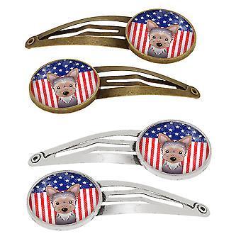 American Flag og Yorkie hvalp sæt 4 hårspænder hår klip