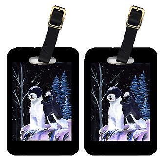 Carolines Treasures  SS8399BT Starry Night Portuguese Water Dog Luggage Tags Pai