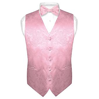 Men's Paisley Design Dress Vest & Bow Tie BOWTie Set for Suit Tuxedo