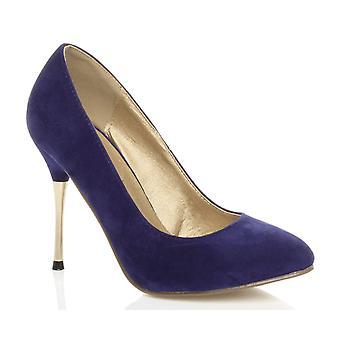 Ajvani kvinners høy metall gull tynn hæl stiletto retten smart kvelden sko pumper