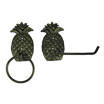 Antique Brass Finish Cast Iron Pineapple Towel and Tissue Holder Wall Decor Set