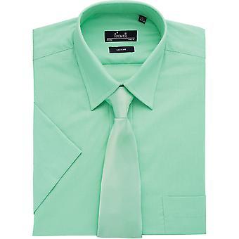 Chemise entreprise formelles premier Mens court à manches polyester/coton/popeline