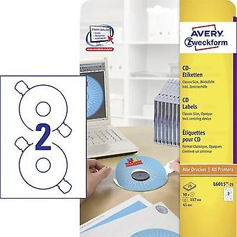Etiquetas de CD Avery Zweckform L6015-25 Ø 117 mm papel blanco 50 PC de tinta opaca permanente, Laser