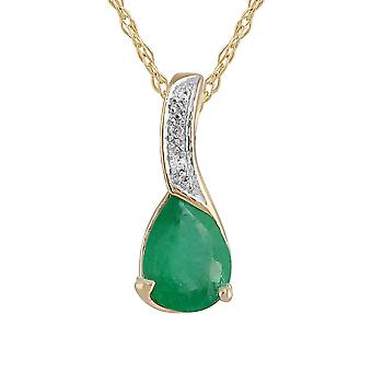 Classic Pear Emerald & Diamond Pendant Necklace in 9ct Yellow Gold 183P1094049