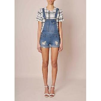 Nur Denim Dungaree Shorts