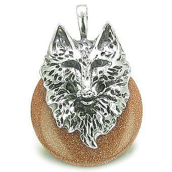 Amulet ulven hodet mot og beskyttelse krefter heldig Donut gull stein rustfritt stål anheng
