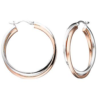 two-tone earrings hoops around 925 sterling silver bicolor gold-plated earrings